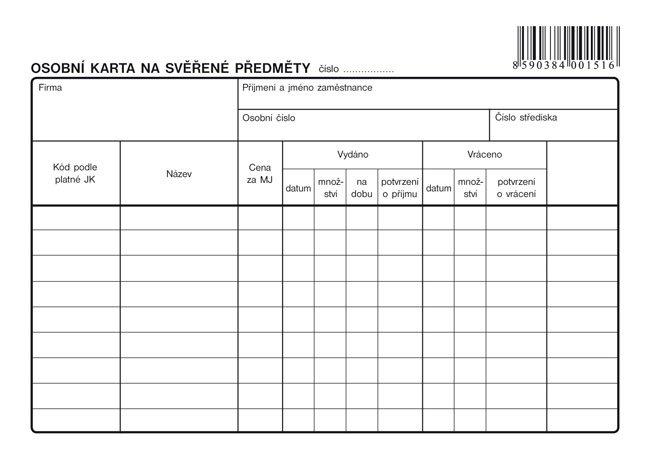 Osobni Karta Na Sverene Predmety A5 Optys Cz