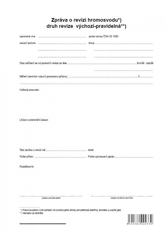 Zprava O Revizi Hromosvodu A4 Optys Cz