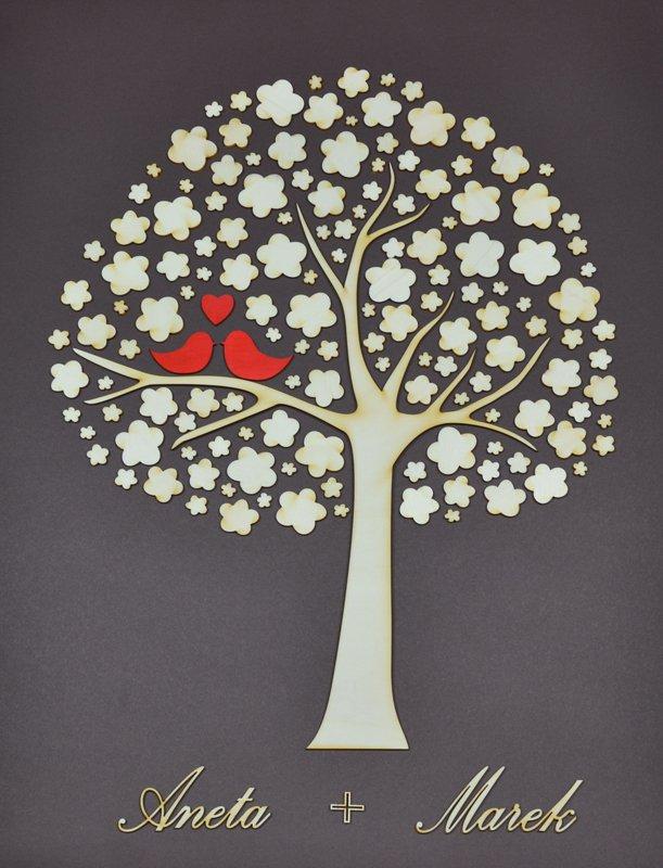 Svatebni Strom S Ptacky A Jmeny Snoubencu Dreveny Optys Cz